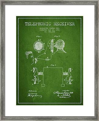 Alexander Graham Bell Telephonic Receiver Patent From 1881- Gree Framed Print by Aged Pixel