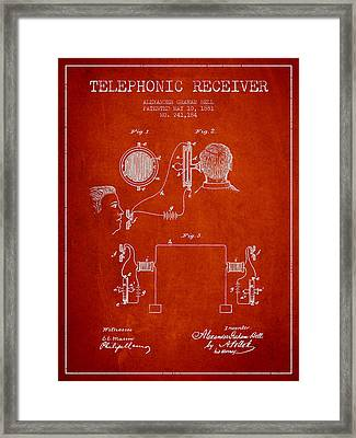 Alexander Graham Bell Telephonic Receiver Patent From 1881- Red Framed Print by Aged Pixel