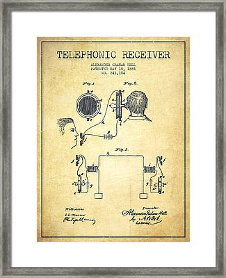 Alexander Graham Bell Telephonic Receiver Patent From 1881- Vint Framed Print by Aged Pixel