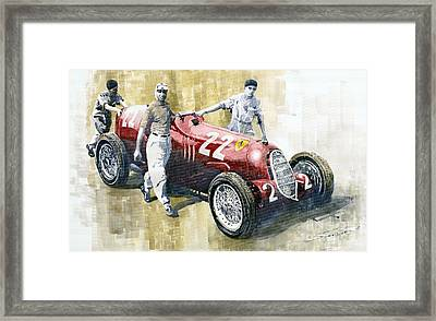 Alfa Romeo 12c-36 Tazio Nuvolari Coppa Ciano Race 1937 Framed Print by Yuriy  Shevchuk