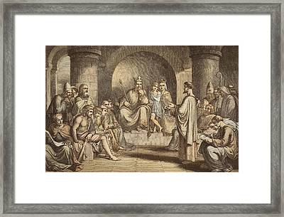 Alfred The Great Submitting His Laws Framed Print by John Bridges