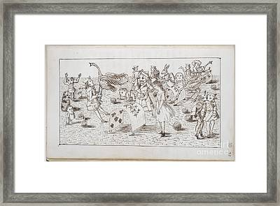 Alice And Red Queen Play Croquet Framed Print by British Library