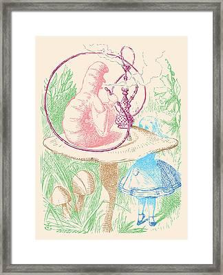 Alice And Smoking Caterpillar Framed Print by John Tenniel