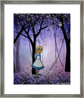 Alice In An Enchanted Forest Framed Print by Charlene Murray Zatloukal