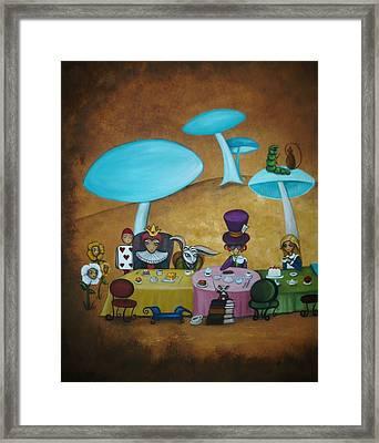 Alice In Wonderland Art - Mad Hatter's Tea Party I Framed Print by Charlene Murray Zatloukal