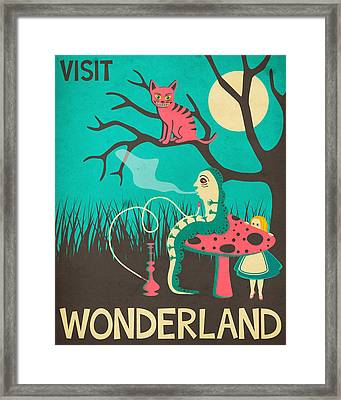 Alice In Wonderland Travel Poster - Vintage Version Framed Print by Jazzberry Blue