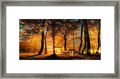 Alien And Ufo In The Forest Framed Print by Panoramic Images