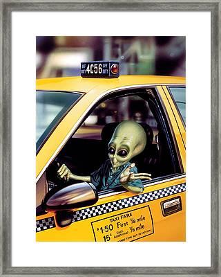 Alien Cab Framed Print by Steve Read