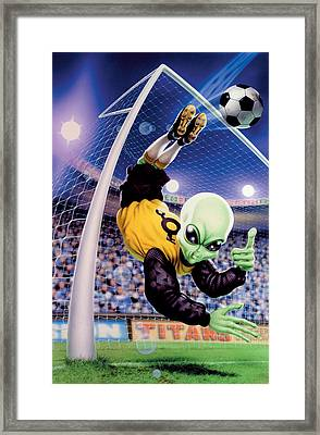 Alien Goal Keeper Framed Print by Steve Read