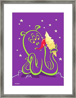 Alien Ice Cream -vector Version Framed Print by Martin Davey