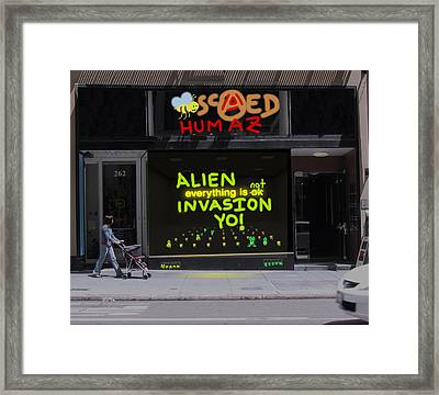 Alien Invasion Yo - Everything Is Not Okay Framed Print by John Hines