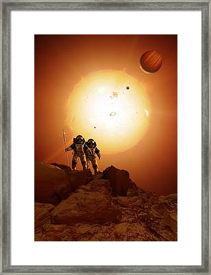 Alien Planet Exploration, Artwork Framed Print by Science Photo Library