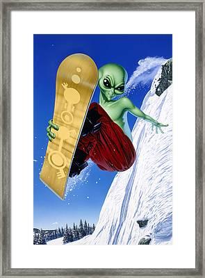 Alien Snowboarder Framed Print by Steve Read