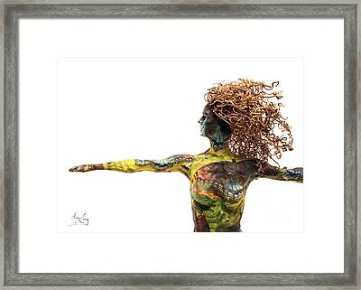 Blue Grapes Framed Print featuring the mixed media Alight A Sculpture By Adam Long by Adam Long