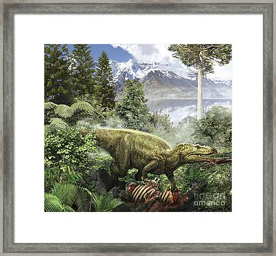 Alioramus Feediing On The Carcass Framed Print by Jan Sovak
