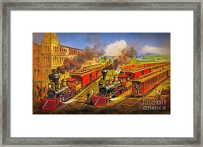 All Aboard The Lightning Express 1874 Framed Print by Lianne Schneider