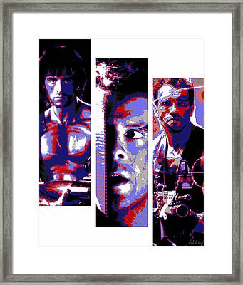 All-american 80's Action Movies Framed Print by Dale Loos Jr