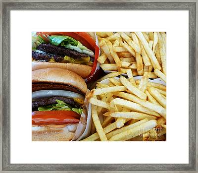 All American Cheeseburgers And Fries Framed Print by Methune Hively