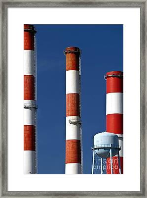 All American Industry Smokestacks Framed Print by Amy Cicconi