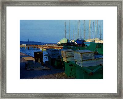 All Packed And Ready To Go...lakeshore Loading Docks And Marina Framed Print by Rosemarie E Seppala