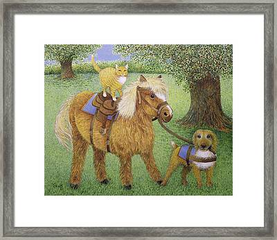 All Part Of The Fun Oil On Canvas Framed Print by Pat Scott