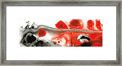 All Things Considered - Red Black And White Art Framed Print by Sharon Cummings
