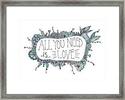 All You Need Is Love Framed Print by Susan Claire