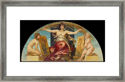 Allegory Of Religious And Profane Painting  Framed Print by Hans Makart