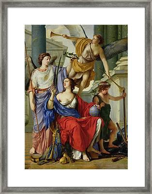 Allegory Of The Regency Of Anne Of Austria 1601-66 1648 Oil On Canvas Framed Print by Laurent de La Hire or La Hyre