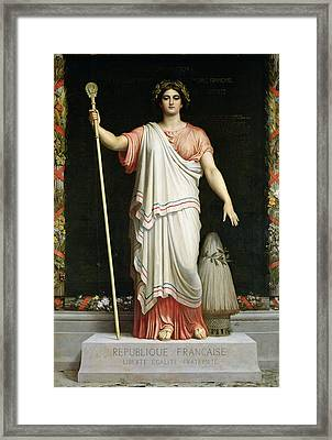 Allegory Of The Republic, 1848 Oil On Canvas Framed Print by Dominique Louis Papety