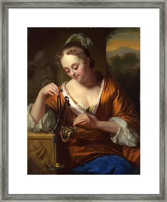 Allegory Of Virtue And Riches Framed Print by Godfried Schalcken