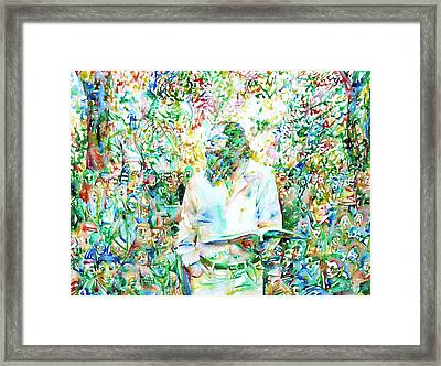 Allen Ginsberg Reading At The Park Framed Print by Fabrizio Cassetta
