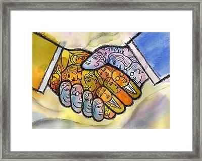 Corporate Merger Framed Print by Leon Zernitsky