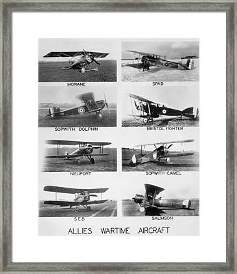 Allies World War I Aircraft Framed Print by Underwood Archives