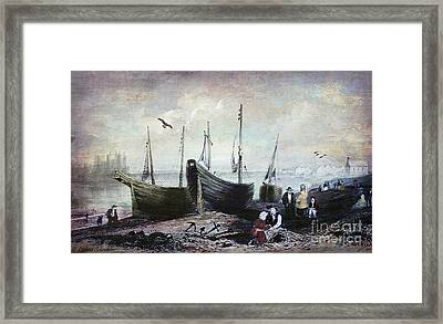 Allonby - Fishing Village 1840s Framed Print by Lianne Schneider