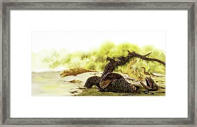 Allosaurus Dinosaurs Drowning Framed Print by Deagostini/uig