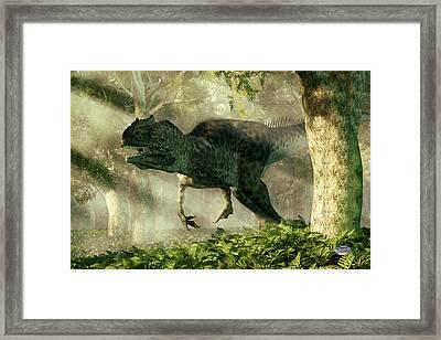 Allosaurus In A Forest Framed Print by Daniel Eskridge