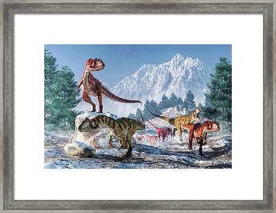 Allosaurus Pack Framed Print by Daniel Eskridge
