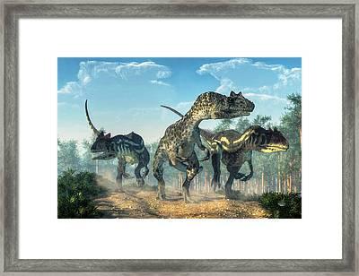 Allosauruses Framed Print by Daniel Eskridge