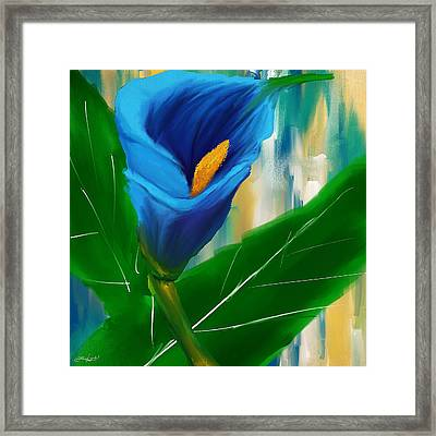Alone In Blue- Calla Lily Paintings Framed Print by Lourry Legarde