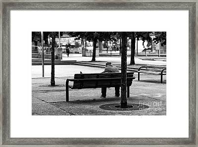 Alone In The Park Mono Framed Print by John Rizzuto