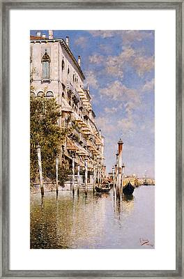 Along The Grand Canal Framed Print by Rafael Senet
