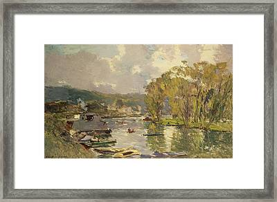 Along The Seine At Meudon Framed Print by Albert Charles Lebourg