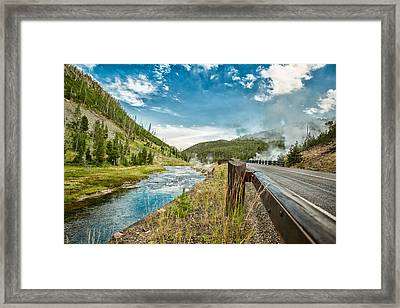 Along The Volcanic Yellowstone Road Framed Print by Andres Leon