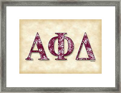 Alpha Phi Delta - Parchment Framed Print by Stephen Younts
