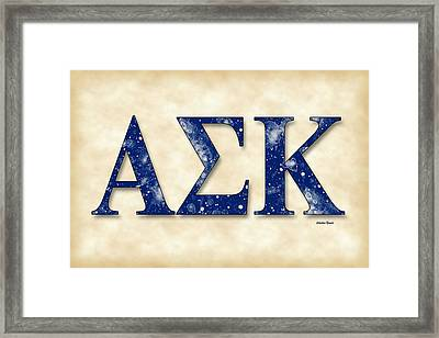 Alpha Sigma Kappa - Parchment Framed Print by Stephen Younts