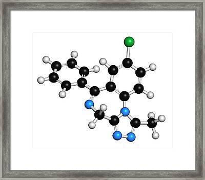 Alprazolam Drug Molecule Framed Print by Molekuul