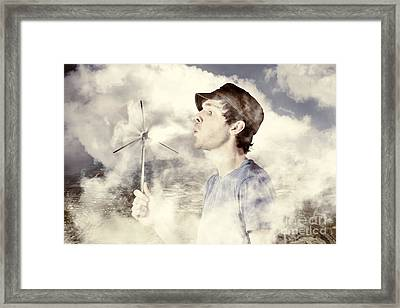 Alternative Energy Man With Wind Power Solution Framed Print by Jorgo Photography - Wall Art Gallery