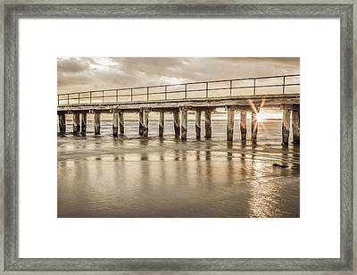 Altona Pier In Sepia Framed Print by Shari Mattox