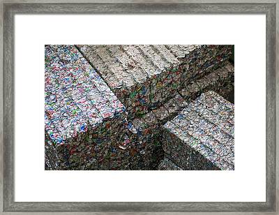 Aluminium Cans At A Recycling Centre Framed Print by Peter Menzel